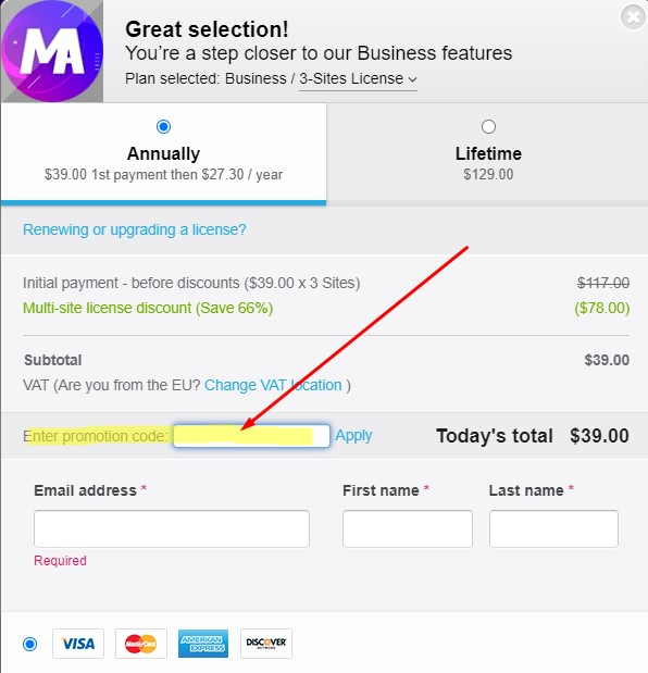 Master Addons for Elementor - Enter Coupon code during checkout