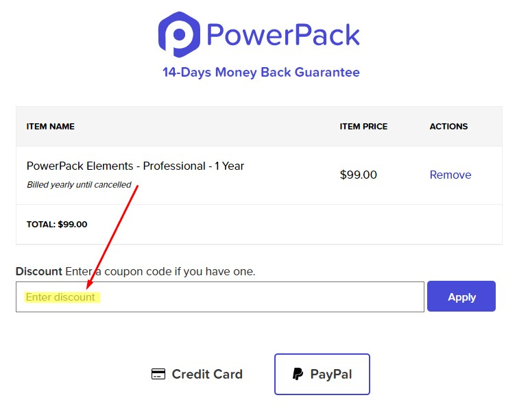 PowerPack Elements - Enter discount code during checkout