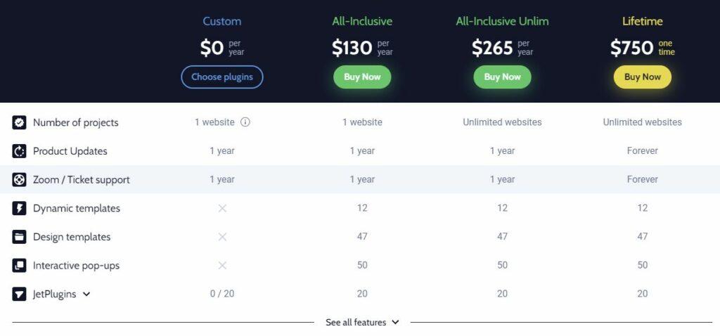 Crocoblock Pricing Page - Plans