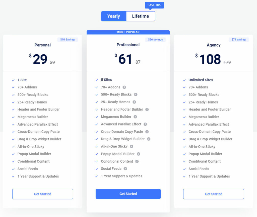ElementsKit for Elementor Pricing and Plans